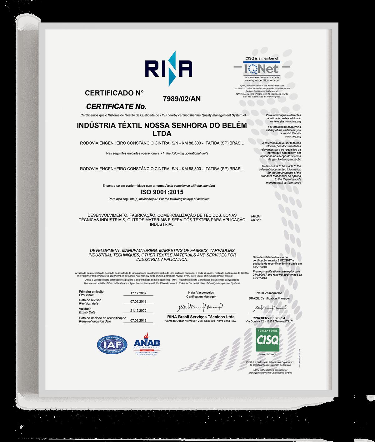 Têxtil Belém é certificada na ISO 9001:2008